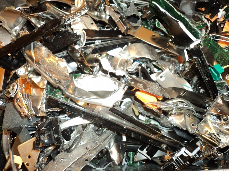 a close up image of shredded hard drives